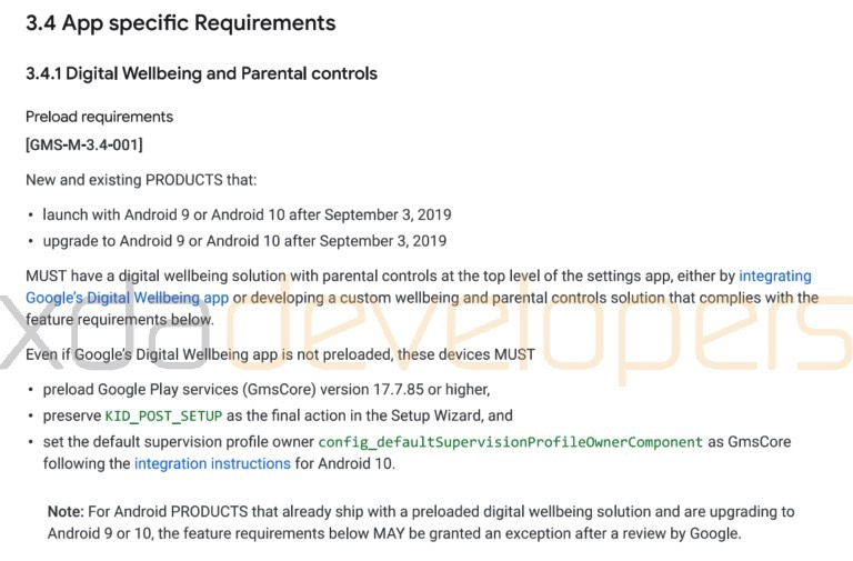 google gms requirements september 2019 android 10