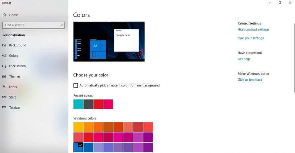change color appearance windows
